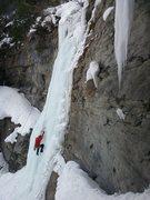 Friend climbing Pumphouse Falls.