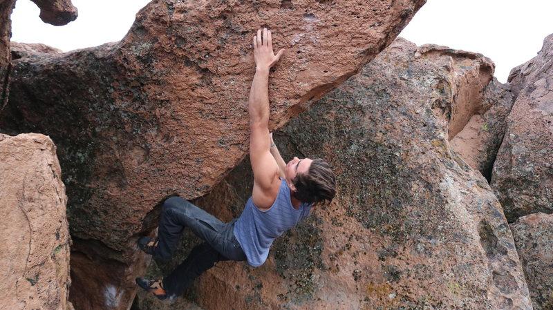 Rock Climbing Photo: Kirin going for the sharp pocket.