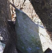 Rock Climbing Photo: v3 at wheeling creek (between the trees)