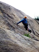 Rock Climbing Photo: Carol stepping up to the steep part of the Blanca ...