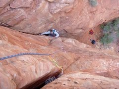Rock Climbing Photo: Bean exiting the flared offwidth, getting ready fo...