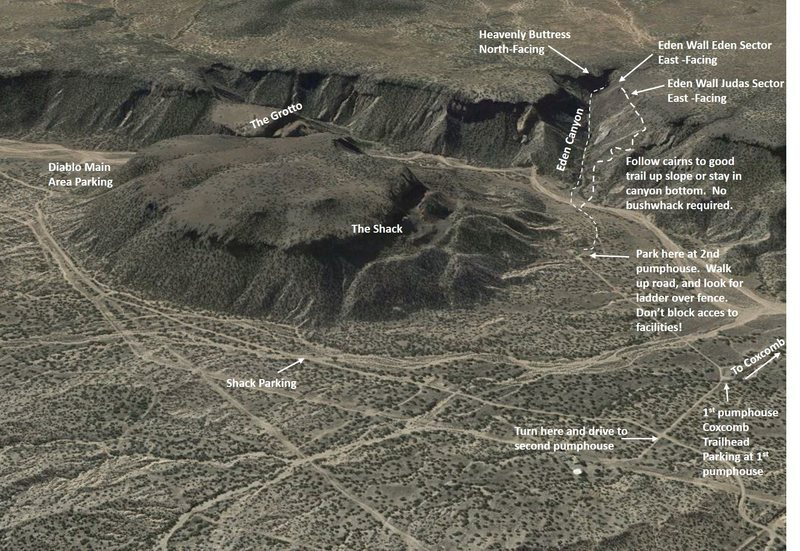 Overview topo to Eden Canyon crags.
