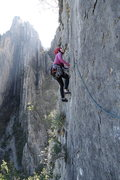 Rock Climbing Photo: The opening moves on the last Pitch.  Move out on ...
