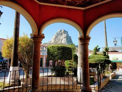 Rock Climbing Photo: Peña de Bernal as seen from town.