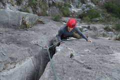 Rock Climbing Photo: coming up P2, a fun offwidth.