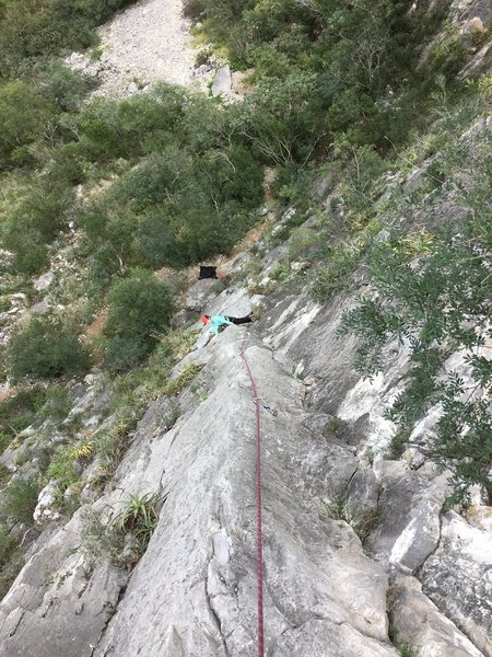 Rock Climbing Photo: Pitch 1 of Access Denied.  Interesting climbing go...