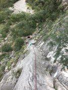 Rock Climbing Photo: Pitch 1 of Access Denied.  Interesting climbing go...