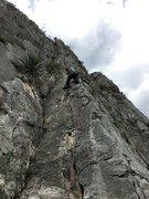 Rock Climbing Photo: Starting up the fun 2nd pitch.  Watch those sharp ...