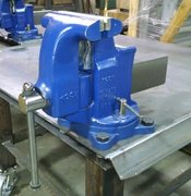 "Yost 8"" cast iron swivel-base bench vise"