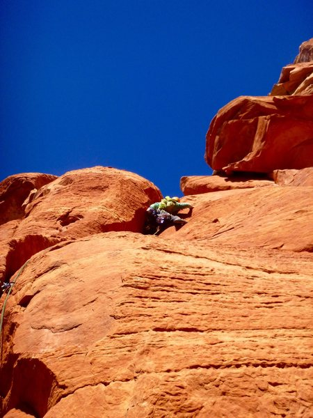 Grunting through the offwidth pod on the second pitch of Chuckwalla. (Photo: Ray Eckland)