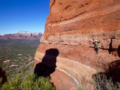 Rock Climbing Photo: Ray leading the P1 traverse on the (boltless) firs...