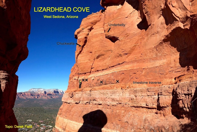 Important landmarks for Chuckwalla and Underbelly. Photo is taken from the starting ledge/notch.