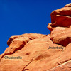 Looking up at Chuckwalla and Underbelly from the ground. Photo is zoomed in, and does not show the lower part of wall.