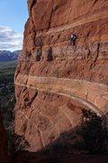 Rock Climbing Photo: Bean following the P1 traverse.