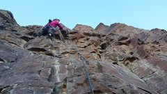 Rock Climbing Photo: Margaret finding some Chicken Scratch on the ascen...