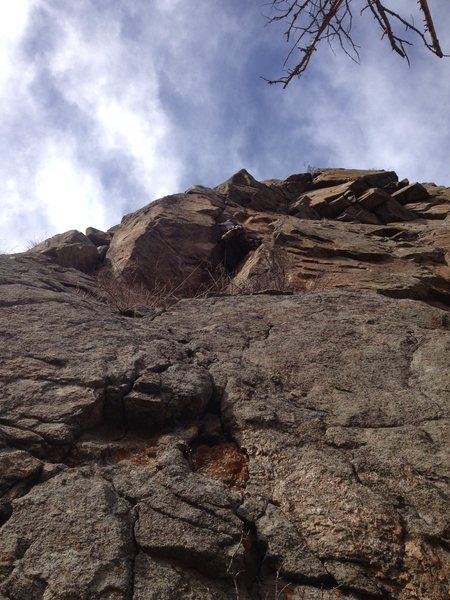 Hard to see, but climber is in the middle of the photo at the crux.