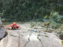Rock Climbing Photo: Finish up P2 right side variation. Photo By Adrian...