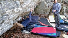 Rock Climbing Photo: Deming sticking the first move