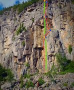 Rock Climbing Photo: Capteur Sensoriel (rouge) Voie de rappel (vert)