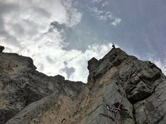 Rock Climbing Photo: At the top of P4.  Use directional to rap the rout...