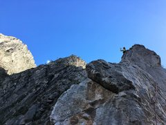 Rock Climbing Photo: high up on the traverse pitch, right before the tr...