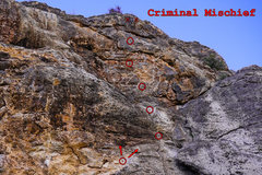 Rock Climbing Photo: Criminal Mischief. This is the upper section of th...