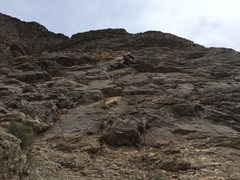 Rock Climbing Photo: Royal leading P2 of unknown line.