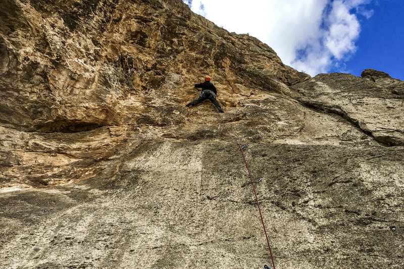 Jonny on the new route. Photo by Gigi.