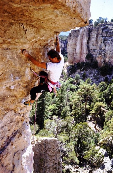 Paul Lanz on the first ascent.