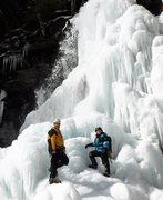 Jonah and Randy standing at the base of Platt Cove Falls in Upper Devils Kitchen Feb. 2017