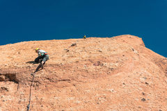 Rock Climbing Photo: Jack Heading up towards the first anchor of Goldli...