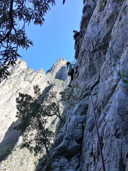 I'm on Catwalk, the other climber is on Penitente.  Photo by Adrian Burke
