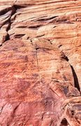 Rock Climbing Photo: The route ascends the left facing corner and follo...