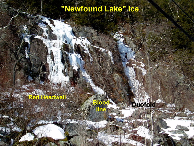 Newfound Lake Ice - on the side of Mt Sugarloaf
