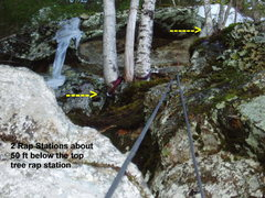 Rock Climbing Photo: Two rap stations, on climber's left, about 50 ...