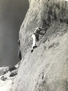 Rock Climbing Photo: Randy Vogel placing a bolt on the FA.