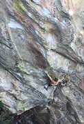 Rock Climbing Photo: Setting up the first crux...the hardest move on th...