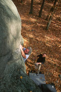 Rock Climbing Photo: Bob Ahearn, spotted by Dave Anataya, at the crux. ...