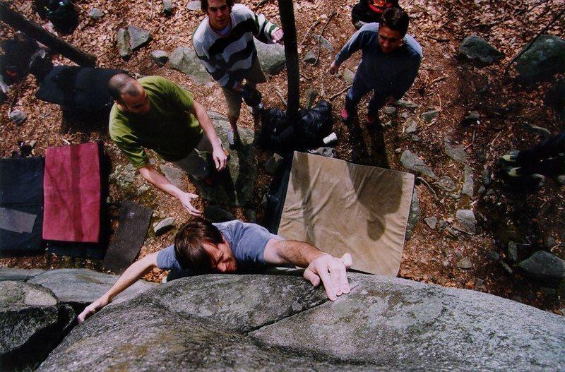 Joe McLoughlin crimping the razor.  Photograph by Dan Knights.