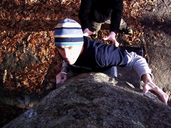 Rock Climbing Photo: Joe McLoughlin eyeing the crux.  Photograph by Ton...