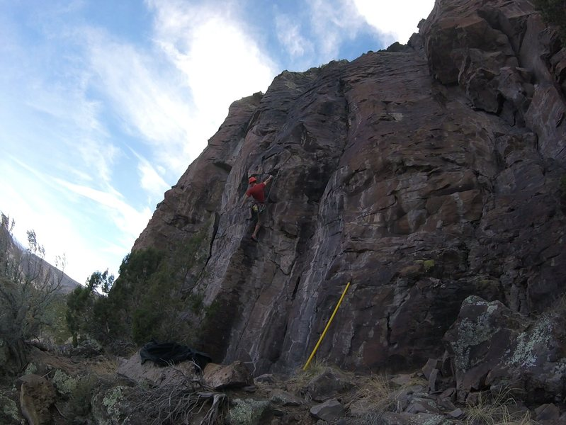 Shaking out before the crux move.