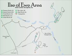 Area map for Ilse of Ewe and surrounding crags.   <br /> <br />formated: <br />A. [crag name] (# of routes)
