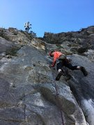Rock Climbing Photo: Starting up P3.  Crux at the broken roof?  I guess...