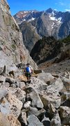 Rock Climbing Photo: Eric Gabel descending down the approach gully afte...