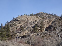 Rock Climbing Photo: Sweet Spot Slot (lower band of cliffs right of the...