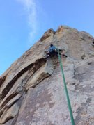 Elizabeth Wyatt approaching the crux on The Sowsuckle