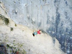 Rock Climbing Photo: Cristina Garcia working the crux moves.