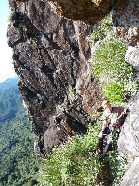 Pitch 1 belay ledge. From here head straight up (and left). Picture take from P2 of &quot@SEMICOLON@Lynx effect&quot@SEMICOLON@.