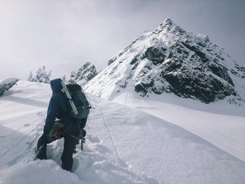 Approaching the NE Buttress of Chair Peak on Feb 24, 2017.