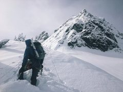Rock Climbing Photo: Approaching the NE Buttress of Chair Peak on Feb 2...